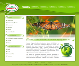 Government  Website Design ,Gujarat Organic Product Certification Agency(GOPCA) Web Layout